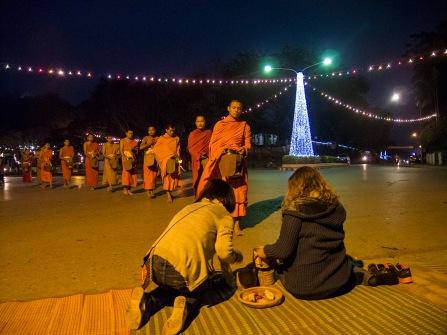 Buddhist alms giving ceremony.