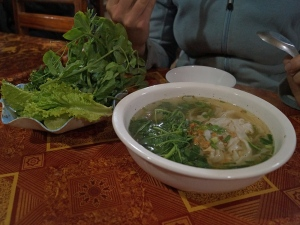 We hadn't changed enough Kip at the border to have meat with our Laos pho.