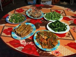 An excellent spread of Black Hmong food.