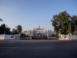 Dawn light on the Presidential Palace in Vientiane.