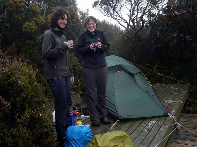 Ducking outside for a quick brew during a brief break in the weather. Photo: Jessica.