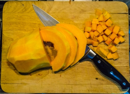 Chop into cubes 1-1.5cm across so they'll cook quickly but retain some texture.